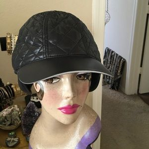 LUCY NEW BASEBALL Hat EAR flaps Quilted BLACK
